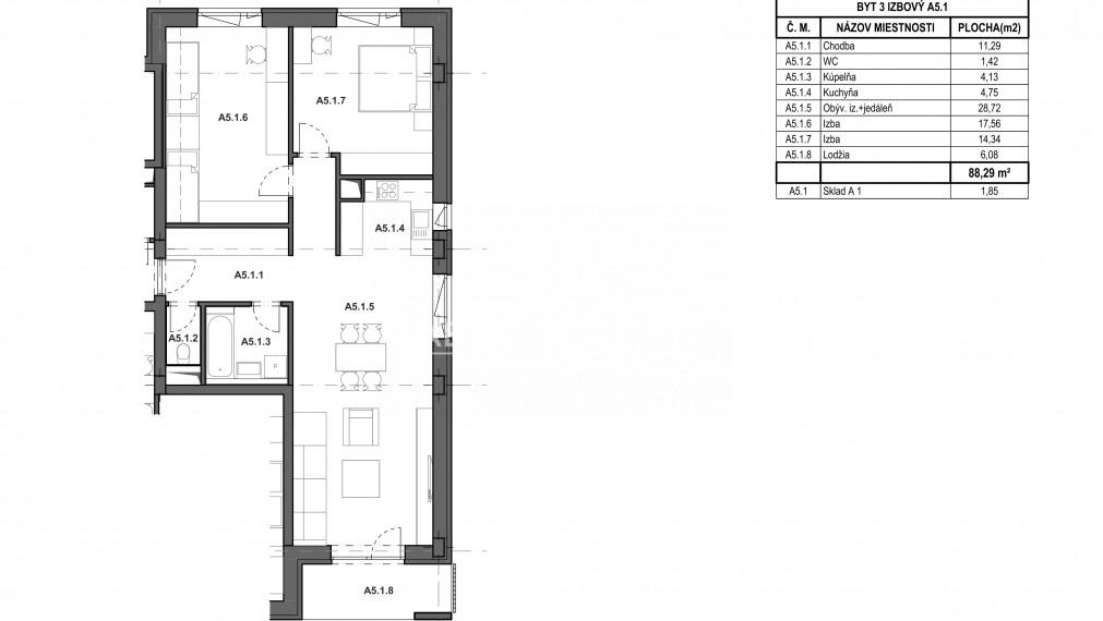 Moderný 2-izbový byt v novostavbe WEST III.etapa Bytový dom K A.5.1